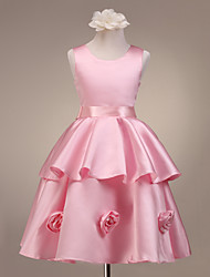 A-line Ball Gown Princess Knee-length Flower Girl Dress - Satin Scoop with Flower(s)