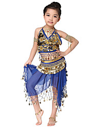 Dancewear Chiffon Velvet with Coins Belly Dance Outfits Top and Belt and Skirt For Children More Colors