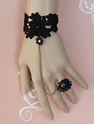 Black Flower Pattern Lace Aristocrat Lolita Ring Bracelet