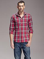 Men's Long Sleeve Shirt , Cotton Blend Casual Plaids & Checks