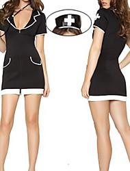 Sexy Girl zíper frontal Preto Spandex vestido uniforme da enfermeira (3 peças)