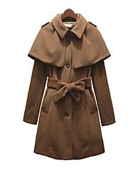 Belted Съемная Женское пальто с мыса Подробно кнопки и КПК