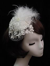 Women's Lace / Feather / Rhinestone / Imitation Pearl / Net Headpiece-Special Occasion Fascinators