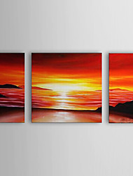 Hand Painted Oil Painting Landscape Sea with Stretched Frame Set of 3 1306-LS0331