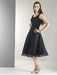 Lanting Bride® Knee-length Chiffon Bridesmaid Dress - A-line Straps Plus Size / Petite with Pleats