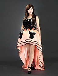 Sleeveless Floor-length Black and Pink Asymmetrical Satin Sweet Lolita Dress