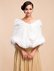 Fur Wraps / Wedding  Wraps Shawls Sleeveless Faux Fur Black / Ivory Wedding / Party/Evening Hidden Clasp