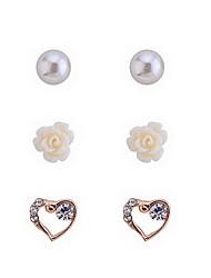 Fashion Perle und Herz-Ohrringe Set (3 Paar pro Set)