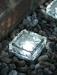 Set of 2 Solar Brick Ice Cube Path Light Crystal Garden Lamp