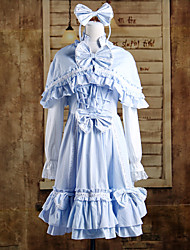 Long Sleeve Knee-length Blue Cotton Cape Sweet Lolita Dress