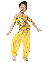 Dancewear Chiffon with Coins Belly Dance Outfits Top and Belts and Bottom For Children More Colors