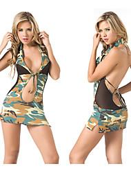 Sexy camuflagem verde Poliéster Vestido Exército Unfiorm
