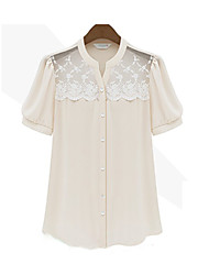 Women's Solid White Blouse/Shirt , Casual/Lace Short Sleeve Lace