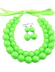 Women's Green Fluorescence Color Necklace&Earrings Set