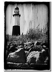 Imprimé sur toile phare de Montauk Li par Harold Silverman - Plage, palmiers et phares avec cadre Strethed