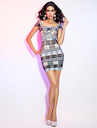 Cocktail Party / Holiday Dress Sheath / Column Square Short / Mini Rayon with Bandage