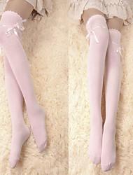 Pink Ribbon Cotton Sweet Lolita Over Knee Socks