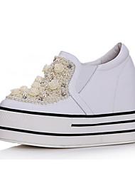 Cuoio di modo del tallone della piattaforma Scarpe Da Ginnastica Con perla d'imitazione Casual Shoes