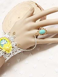 Handmade Yellow Flower White Lace Sweet Lolita Ring Bracelet