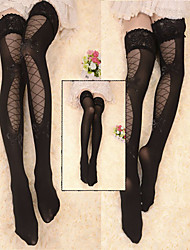 Black Lace and Ribbon Hollowed Velvet Gothic Lolita Over Knee Socks