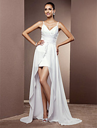 Lanting Sheath/Column Plus Sizes Wedding Dress - White Asymmetrical V-neck Chiffon