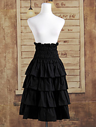 Knee-length Black Cotton Ruffles Classic Lolita Skirt
