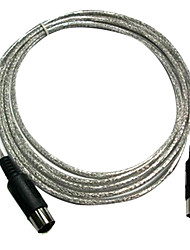 Silver MIDI Cable with 5-pin Plug in 3 Meter