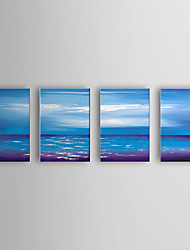 Hand Painted Oil Painting Landscape Sea and Sky with Stretched Frame Set of 4 1307-LS0338
