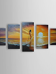 Hand Painted Oil Painting Landscape Sea with Stretched Frame Set of 5 1306-LS0317