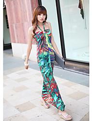 Women's String Halter Oil Painting Maxi Dresses