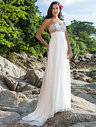 Lanting Sheath/Column Plus Sizes Wedding Dress - Ivory Sweep/Brush Train Sweetheart Chiffon