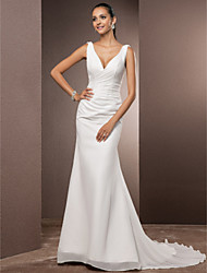 Lan Ting Trumpet/Mermaid Plus Sizes Wedding Dress - Ivory Court Train V-neck Chiffon