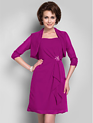 Women's Wrap Shrugs 3/4-Length Sleeve Chiffon Fuchsia Wedding / Party/Evening Wide collar Draped Open Front