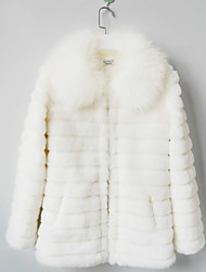 Long Sleeve Turndown Collar Faux Fur Casual/Party Coat