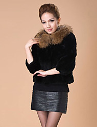 3/4 Sleeve Raccoon Fur Collar Rex Rabbit Fur Casual/Party Jacket