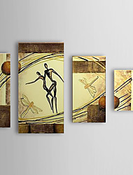Hand Painted Oil Painting People Dancing Woman with Stretched Frame Set of 4 1307-PE0297