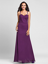 Lanting Bride® Floor-length Chiffon Bridesmaid Dress - Sheath / Column Halter Plus Size / Petite with Side Draping