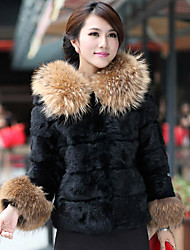 Long Sleeve Hood Raccoon Fur & Rabbit Fur Casual/Party Jacket