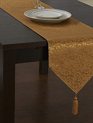 Classic Polyester Piece Dye Jacquard Floral Table Runners