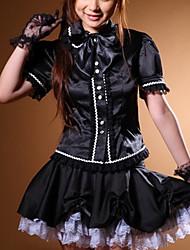 Doce School Girl Costume Preto Terylene (2 peças)