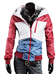 Men's Waterproof Color Matching Coat with Hoop(Red)