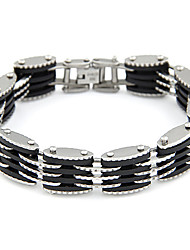 Men's  Silver Plated Alloy Multi-row Connected Bracelet  Christmas Gifts