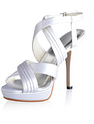 Fabulous Satin Stiletto Heel Sandals with Buckle Wedding Shoes(More Colors)