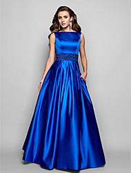 Prom / Formal Evening / Military Ball Dress - Vintage Inspired Plus Size / Petite A-line / Ball Gown Bateau Floor-length Satin with