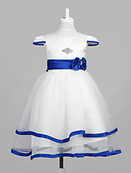 Lovely Short Capped Sleeve Tulle/Satin Wedding/Evening Flower Girl Dress With Bow