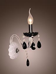cristal noir murale avec ampoule bougie