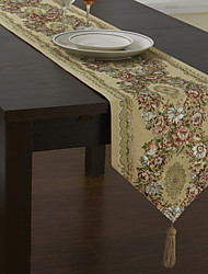 Country Polyester Cotton Blend Jacquard Green Floral Table Runners
