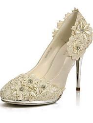 элегантные атласные шпилька насосы / закрытый носок с цветочными свадьбы / участник обувь