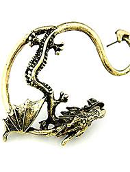 Pendiente de la vendimia del metal fresco plateado de la aleación del dragón (1 Paquete colores surtidos)