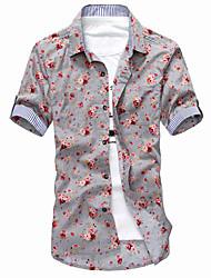 Impression florale shirt à manches courtes pour hommes (1)